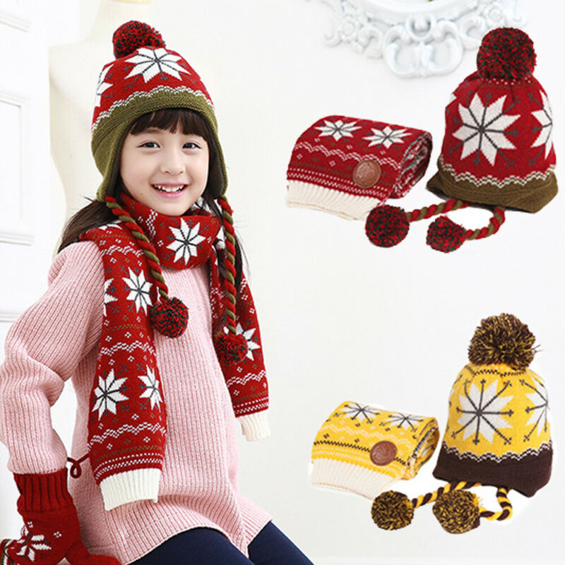Made In China 2PCS Boys Girls Beanie Hat And Scarf Kids Warm Winter With Earmuffs Snowflake
