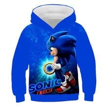 Sweatshirt Hoodies pullover Sonic Kids 3D coat Long Sleeve Children Cloth Cartoon Cool Boys Tops 4-14T Girls gift