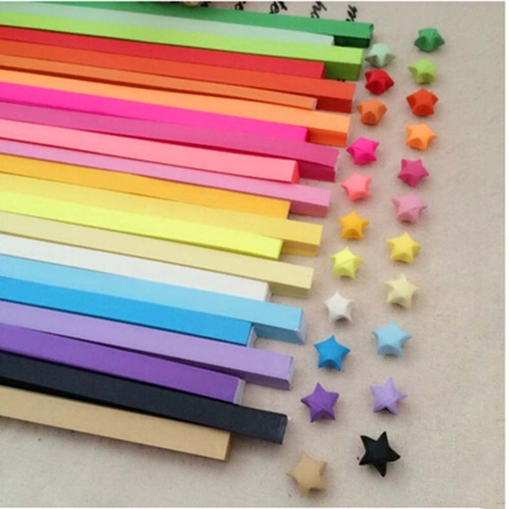 380pcs Colorful Handcraft Origami Lucky Star Paper Strips Paper Origami Diy Gift Paper Wedding Household Decoration