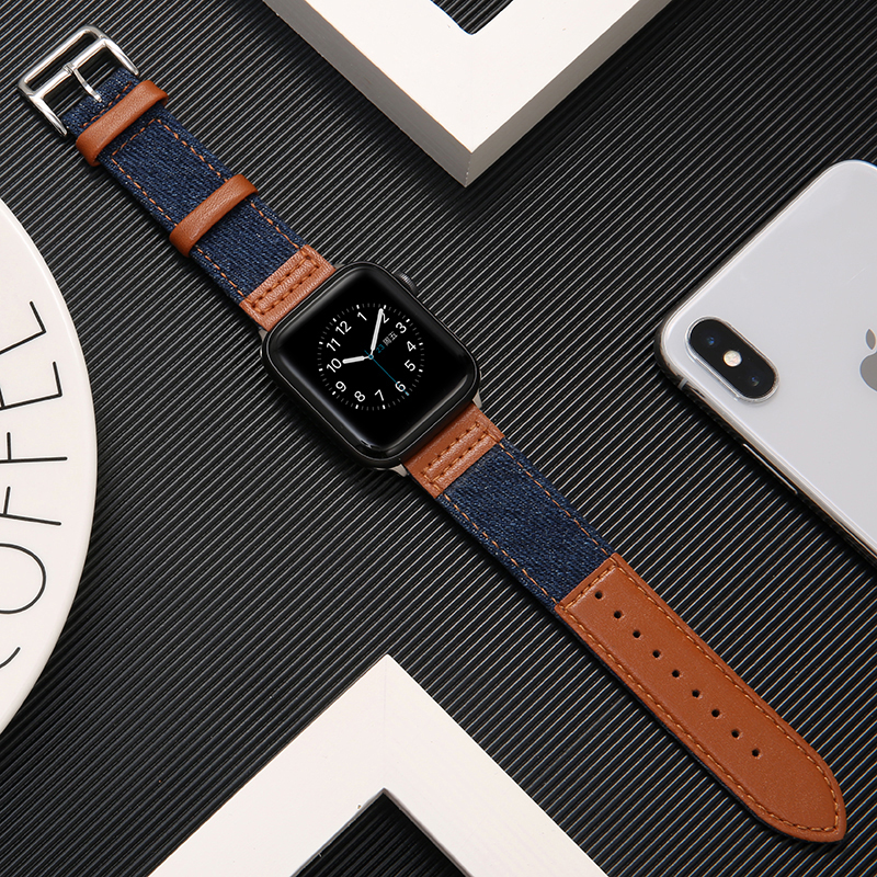 Fabric&Genuine Leather Strap For Apple Watch Band 42mm 38mm 44mm 40mm Apple Watch 5/4/3/2/1 Bracelet Wristbelt Accessories