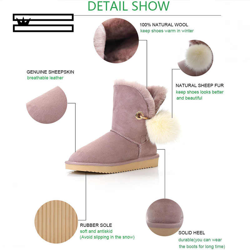 Kristal Berlian Imitasi Pom-Pom Bros Wanita Sepatu Bot Musim Dingin Sepatu Fox Fur Ball Kulit Domba Kulit Suede Wol Bulu Berjajar Salju sepatu Bot