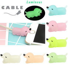 Luminous Cable Line Bite for Iphone Cable cord silicone Animal Phone Accessory Protects Cute Protector for USB data cable home(China)