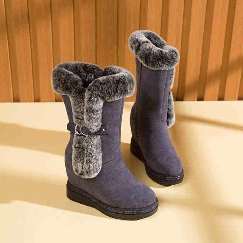Krazing pot yeni karışık renkler peluş moda sıcak tutmak kar botları yuvarlak ayak takozlar kalın alt kış kadın orta buzağı çizmeler L29