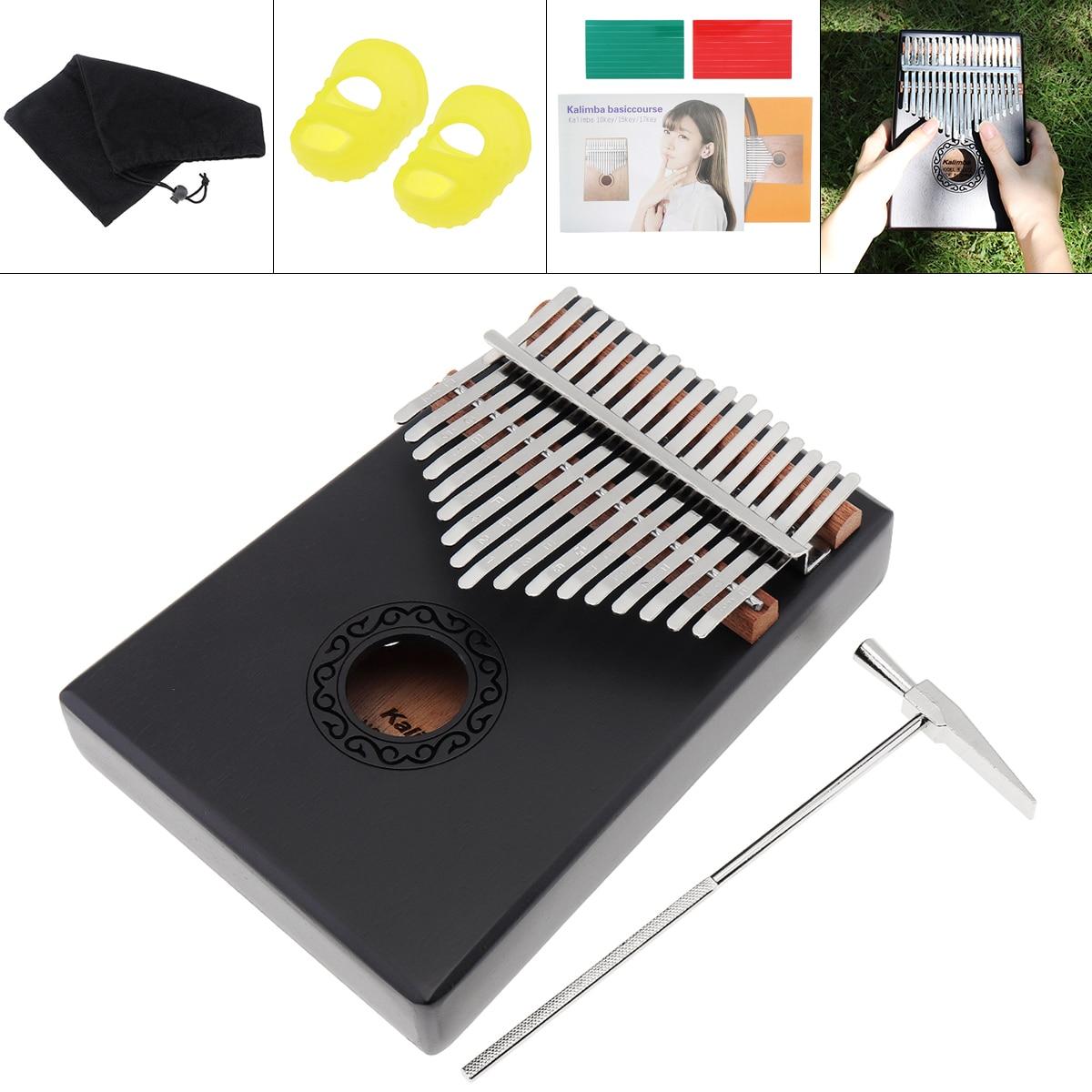 17 Key Kalimba Single Board Mahogany Thumb Piano Mbira Mini Keyboard Instrument With Complete Accessories