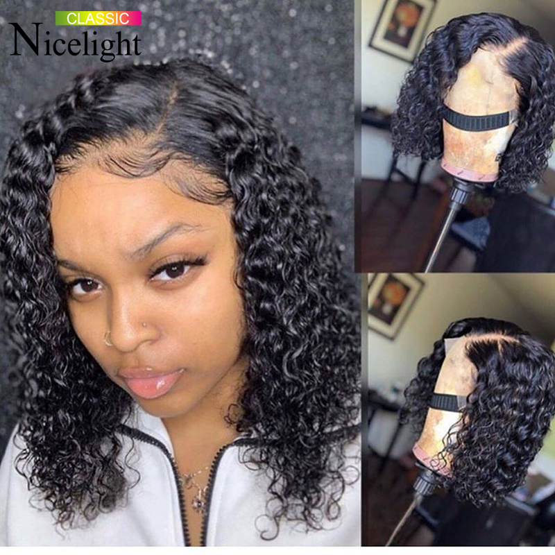 Water Wave Lace Front Human Hair Wigs Short Wavy Bob Lace Front Wigs Nicelight Peruvian Wig Remy Natural Color Hair Lace Wig