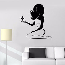 Beautiful Woman Wall Decal Spa Beauty Salon Massage Center Interior Decor Butterfly Vinyl Window Stickers Waterproof Mural 2128