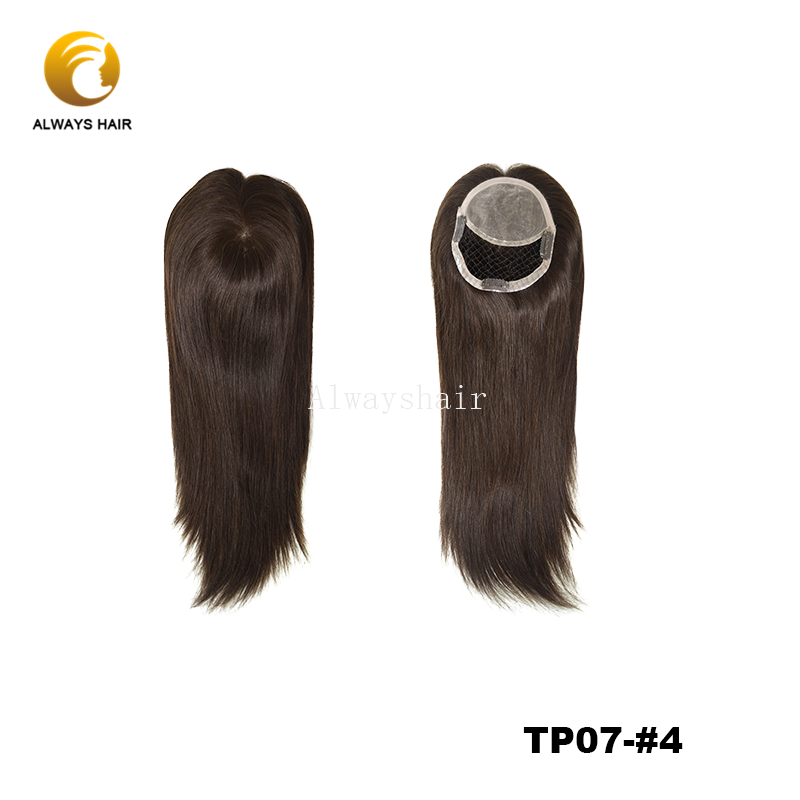 """TP07 Human Hair Topper 16"""" Natural Wave Female Toupee With Clip Chinese Cuticle Remy Hair Topper Wig"""