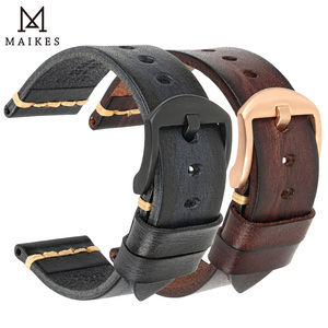 Image 3 - MAIKES Handmade Cow Leather Watch Strap 7 Colors Available Vintage Watch Band 20mm 22mm 24mm For Panerai Citizen Casio SEIKO