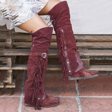 2019 Fashion Bohemian Boho Heel Boot Ethnic Women Tassel Fringe Faux Suede Leather Hight Boots Woman Girl Flat Long Booties