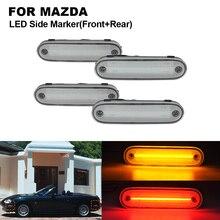 цена на 4PCS clear LED Front Side Marker Light Lamp For MAZDA Miata MX-5 1990-2005 2X Front Side marker(Amber)+2X Rear Side marker(Red)
