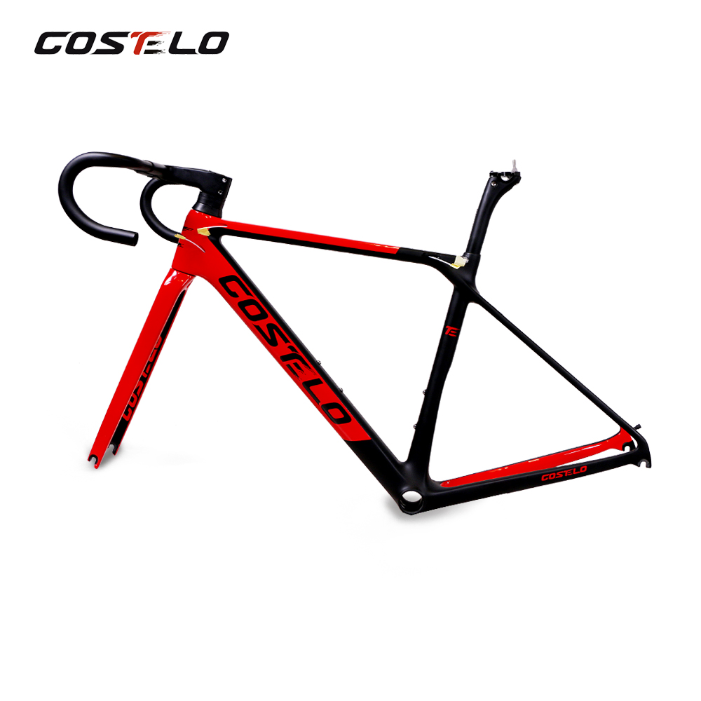 Costelo Rio 3.0 Carbon Fibre Road Bike Frame Fork Clamp Seatpost Carbon Road Bicycle Frame 880g With Integrated Handlebar