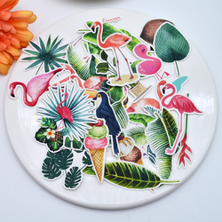 35 sztuk Kawaii Ins płonące naklejki tropikalna roślina DIY opakowanie na prezent dekoracji klej/pamiętnik papiernicze naklejki do planowania naklejki