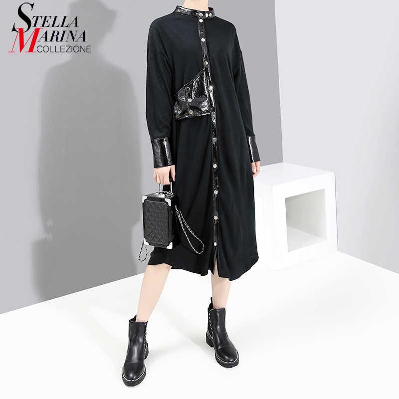 Новинка 2019, Женское зимнее черное платье-рубашка с длинным рукавом, искусственная кожа, на пуговицах, для девушек, элегантное вечернее платье, женское платье 5548