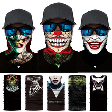 3D Seamless Bandana Multifunction Magic Tube Silk Scarf Vampire Demon Clown Ghost Shield Face Cover Headband Scarf Men Women