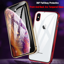 9H Double Sided Magnetic Adsorption Metal Glass Case For iPhone 11 Pro For iPhone 7 8 XS Max XR X 6 Full Protective Cover Coque