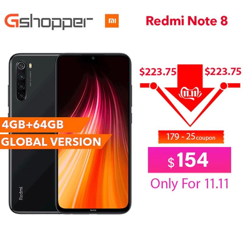 Versão global original xiaomi redmi nota 8 4 gb ram 64 gb rom 6.3