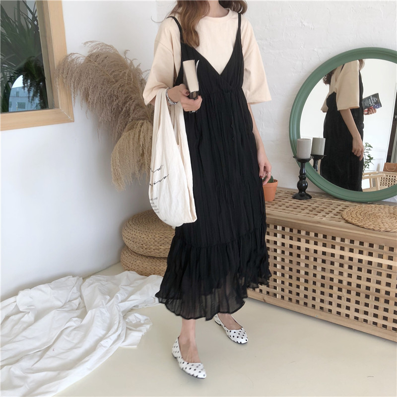 Women Pleated Dress Elegant Korean Fashion Janpan Harujuku Kawaii Spaghetti Strap Sexy V-neck Casual Long Dress Vestidos h2243 2