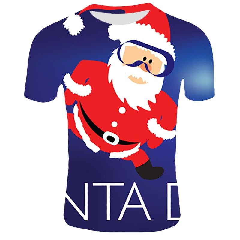 Модные футболки с рождественским узором, мужские Забавные футболки с принтом Санта-Клауса, повседневные 3d футболки, вечерние футболки со снеговиком, одежда с коротким рукавом - Цвет: T9