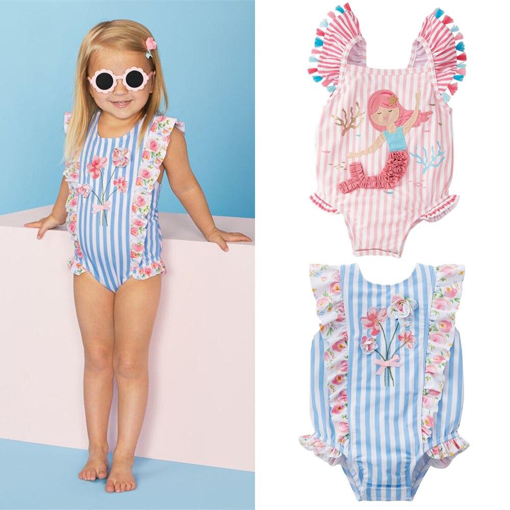 От 0 до 7 лет Детская одежда для маленьких девочек купальный костюм в полоску на бретельках, Цельный купальник для девочек милый ребенок дево...