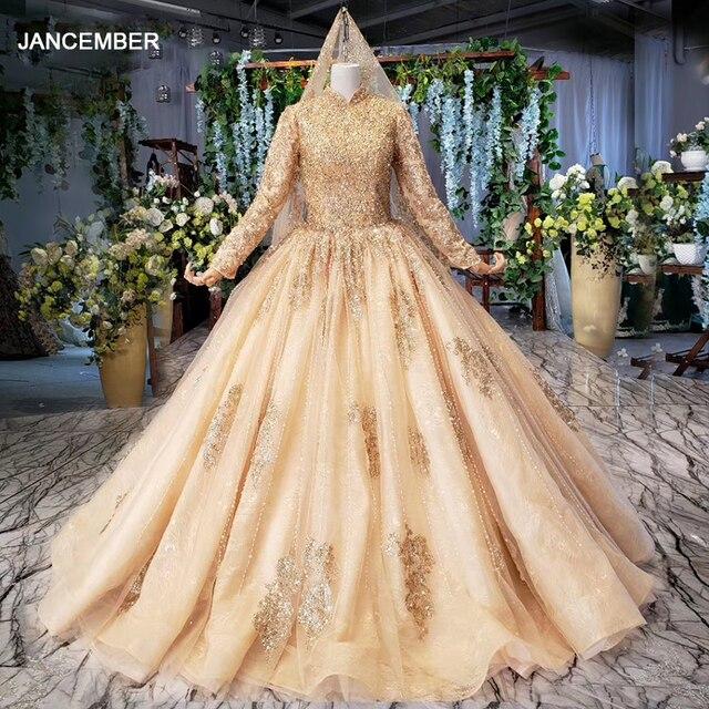 HTL258G muslim wedding dresses long sleeves high neck bead gold bride dress party with bridal veil robe mariage boheme