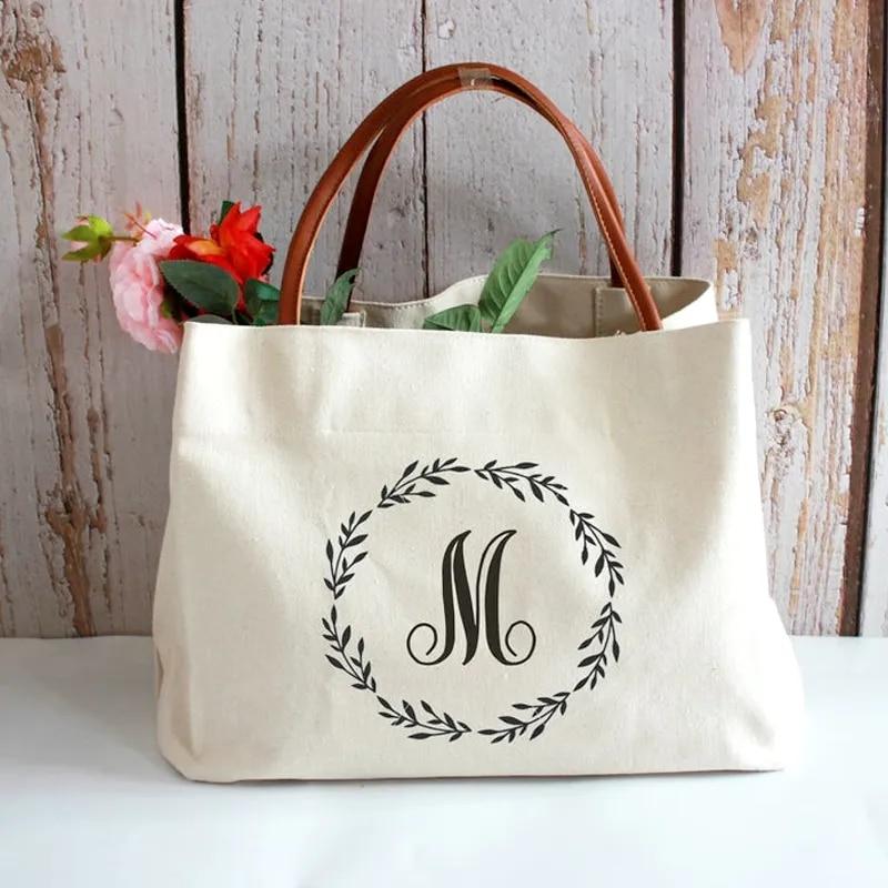 Personalised Bag Set for Bridesmaid Monogram Tote Bag Bridesmaid Gift Bag Initial Bag Bride Gift Personalised Beach Bag Honeymoon Makeup bag