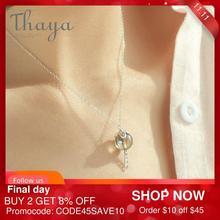 Thaya oryginalny Elf House Design s925 srebrny naszyjnik z okienkiem kolorowy koralik z kryształkami naszyjnik dla kobiet klasyczna biżuteria