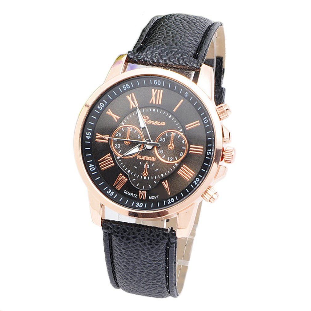Environmental Friendly Fashion Brand Unisex Men Male Casual Stylish Romen Numerals Faux Leather Quartz Watch Montre Watches
