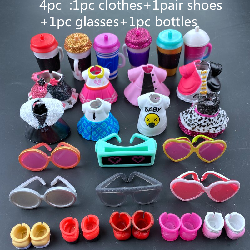 4pc/set Original LOLs Doll Clothes, Glasses, Bottles, Shoes Accessories For LOLs Accessories Hot Sale