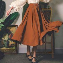 Women Spring Fall Draped Elegant Vintage Solid British Romantic Button Sash New Female Faldas Mid-Calf High Waist A-line Skirts