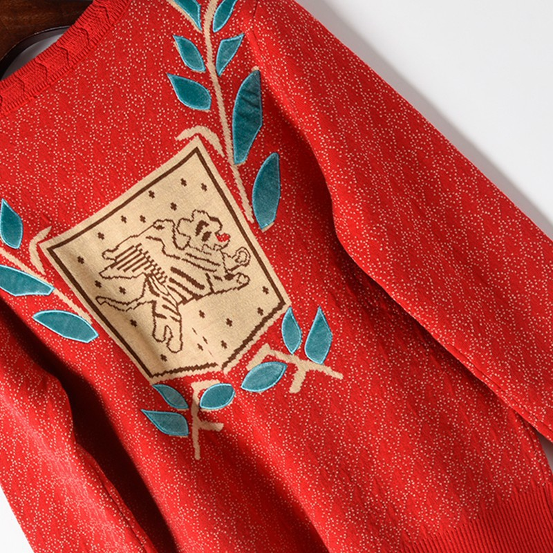 Europa Star estilo tejido suéter mujer Jacquard tejido perro hoja bordado punto cuello redondo Jersey manga larga Otoño Invierno - 5