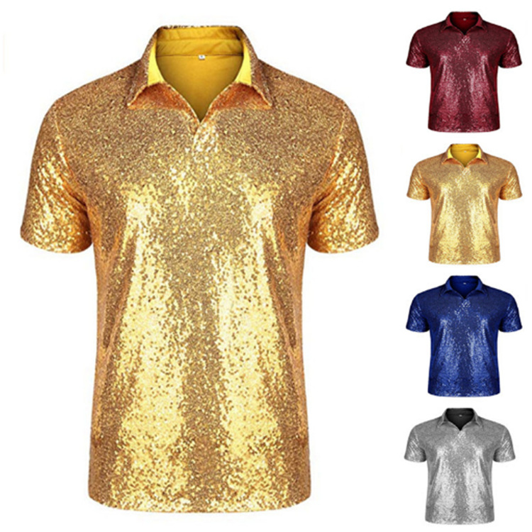 Shinning Nightclub Sequin T-shirt Top For Men Sequin Shirt 70s Disco Party Cosplay Costume Adult Carnival Cosplay Shirt