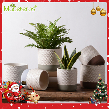 New Modern Creative Succulent Ceramic Flower Pots Tall Straight Cylindrical Flower Pots Green Plants Potted Gardening Decoration simple outdoor gardening creative succulent elephant flower pot ceramic plants pots vase decoration home nordic decor