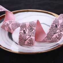 50yards 25mm 38mm printed newspaper satin ribbon polyester cotton for garment accessories bouquet flower packing bow