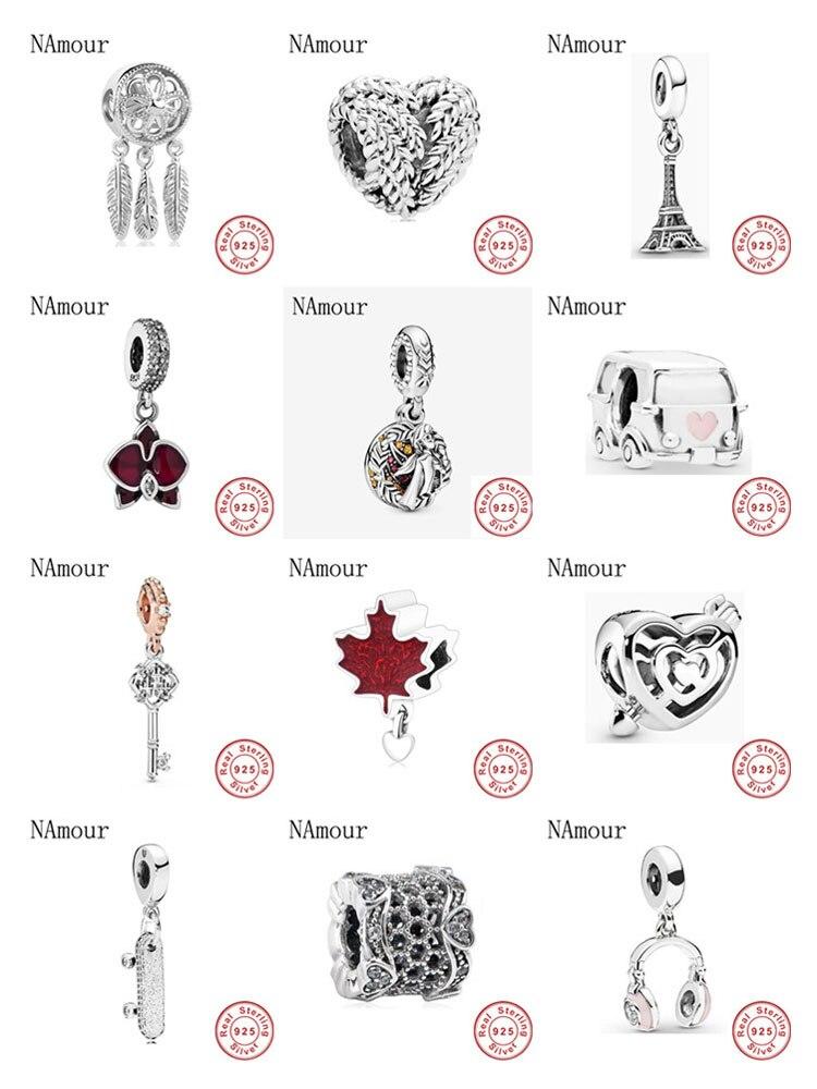 New Dreamcatcher Maple leaf diy fine Bead fit original Pandora charms 925 sterling silver Bracelet for women fashion jewelry(China)