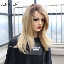 Synthetic wig Medium Straight  613 Color Side Part Lace Wigs  for Women Glueless High Temperature Fiber  Daily Wear Wig