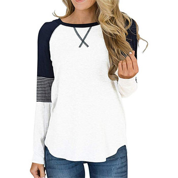 Casual White Women's T-shirt Cotton Raglan Sleeve Color Matching T shirts For Women Plus Size 2XL Autumn Woman Clothing 2020 image