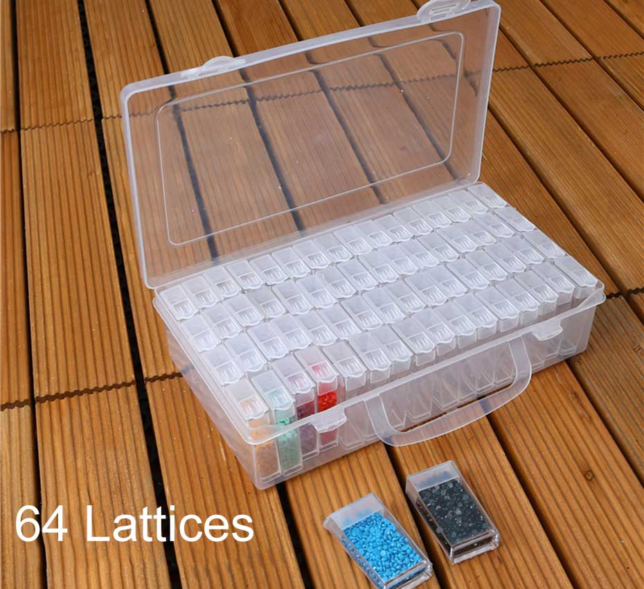 64 Girds 5D DIY Diamond Painting Accessories Beads Container Rhinestones Storage Box Diamond Embroidery font b