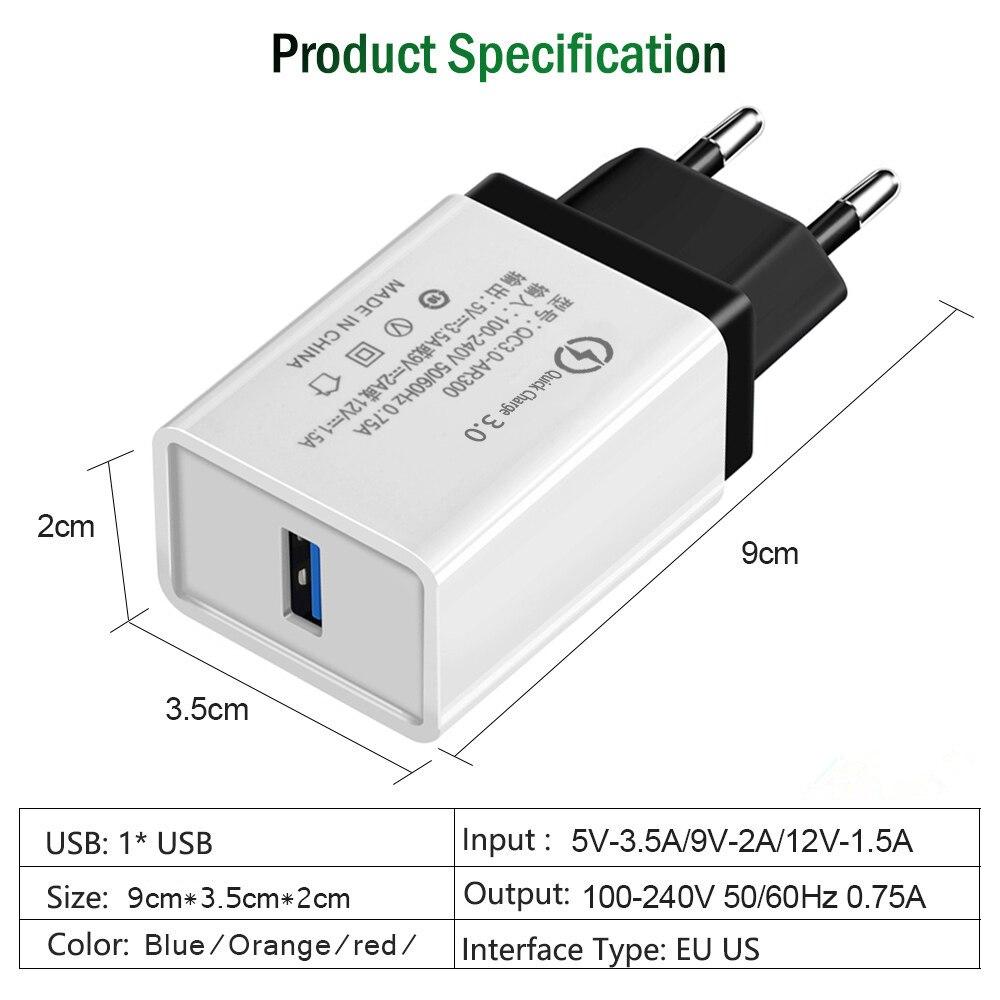 18 Вт ЕС/США Быстрая зарядка QC 3,0 USB телефонный кабель для зарядного устройства быстрое зарядное устройство настенное зарядное устройство дл...