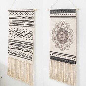 Tapiz de algodón con borlas de estilo nórdico, decoración Vintage para sala...