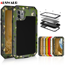 Metal Extreme Shockproof Military Heavy Duty Tempered Glass Cover Case for iPhone 5S 6 6S 7 8 Plus X XS MAX Full Body Waterproof