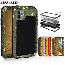 Metall Extreme Stoßfest Military Heavy Duty Gehärtetem Glas Abdeckung Fall für iPhone 5 5S 6 6S 7 8 Plus X XS 11 12 Mini Pro MAX