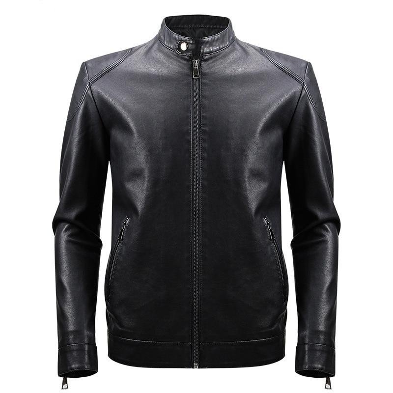PU Jacket Men Casual Black Coat Solid Color 2019 Fashion Autumn Winter Leather Jackets Male J0257
