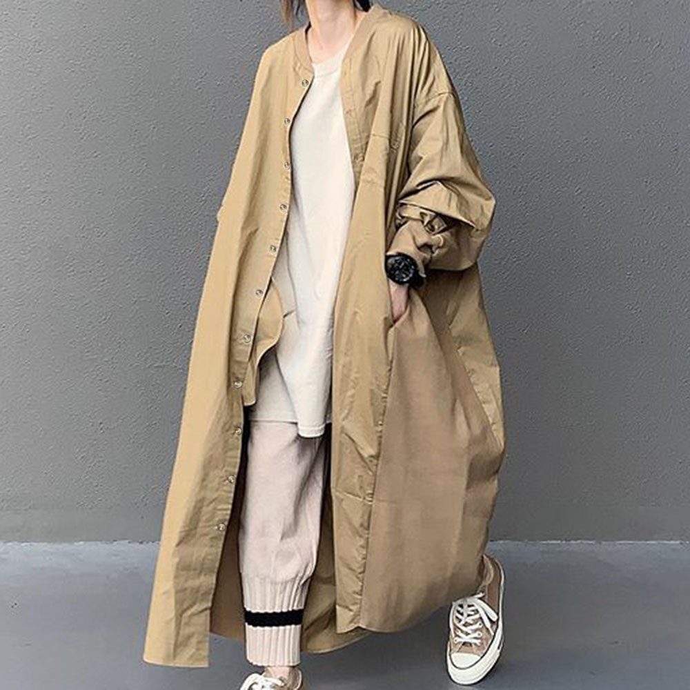 Korean Solid Long Trench Office Fashion Loose Wear Long Sleeve OL Commuter Trench Coat Oversized Female Casual Autumn OverCoat