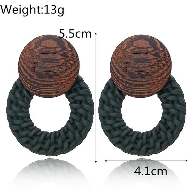 Wooden Handmade Rattan Earrings