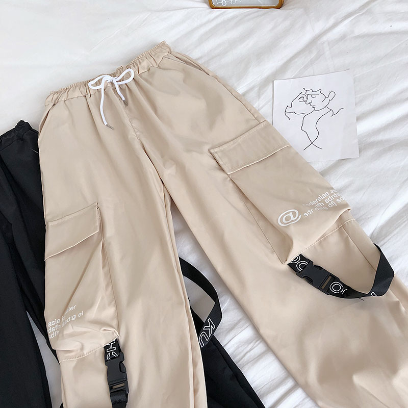 H7f8bdd92a4234549ac98b9a6a1bfd41dY - Neploe Hip Hop Streetwear Women Cargo Pants High Waist Pockets Ribbon Trousers Female Loose All Match New Fashion 90230