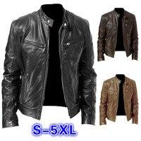 Men PU Leather Jacket Winter Vintage Black Zipper Male Motorcycle Bomber Jacket Streetwear Pocket Stand Collar Men Leather Coat