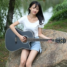 Andrew 41 дюймов гитара для игры в стиле фолк полное красное дерево акустическая музыкальный инструмент 6 Латунь Струны для начинающих профессионалов на все случаи жизни, Гитары