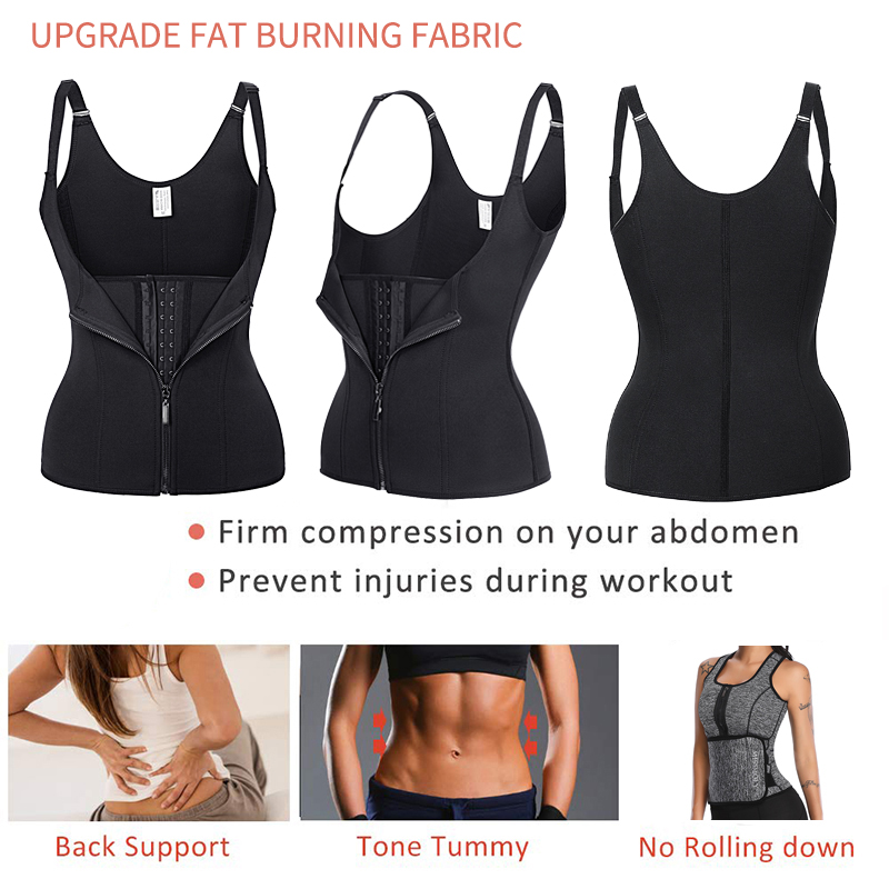 3-5 Day Delivery Compression Shapewear Weight Loss Neoprene Sauna Tank Top Vest Black