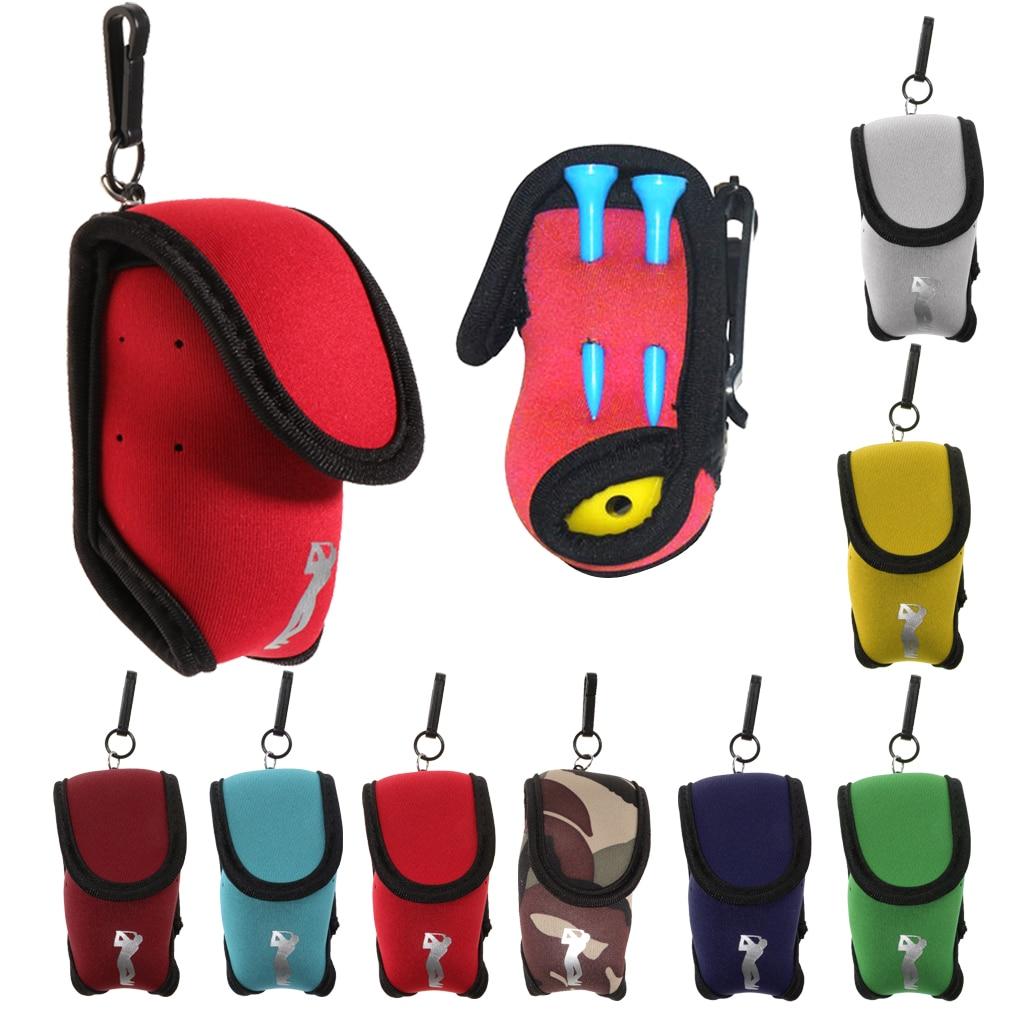 Mini Neoprene Golf Ball Bag Golf Tees Holder Pouch Carry Case & Belt Clip - Lightweight, Portable, Durable