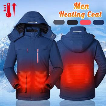 Men Women Outdoor Winter USB Infrared Heating Hooded Jacket Electric Thermal Clothing Coat For Hiking Heated Jacket